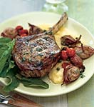 veal chops with roasted shallots, arugula, and soft polenta picture