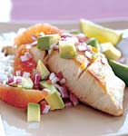 mahi mahi with blood orange avocado and red onion salsa picture