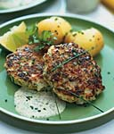 scallop cakes with cilnatro-lime mayonnaise and new potatoes picture