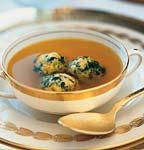 saffron chicken broth with spinach matzo balls picture