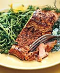 salmon with peas, pea tendrils, and dill-cucumber sauce picture