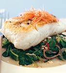 grilled halibut with tatsoi and spicy thai chiles picture