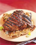 chiptole-rubbed steaks with gorgonzola toasts picture