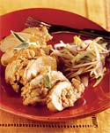 smoked-cheddar-stuffed chicken with green apple slaw picture