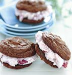 triple-chocolate cookie and strawberry ice cream sandwiches picture