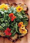 salad of fresh herbs and greens with fried eggplant picture