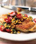 chicken paillards with tomato, basil, and roasted-corn relish picture