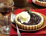 chocolate custard tartlets in almond cookie crust with saffron ice cream picture