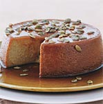 pumpkin flan with spiced pumpkin seeds picture