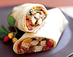 turkey burritos with salsa and cilantro picture