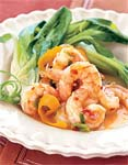spicy-sweet tangerine shrimp with baby bok choy picture