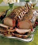 roasted double rack of pork with morel mushroom pan sauce picture