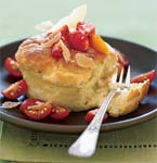fallen grits souffles wth tomatoes and goat cheese picture