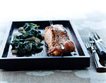 bacon-wrapped salmon with wilted spinach picture