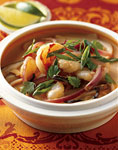 spicy shrimp and coconut noodle soup with shiitake mushrooms picture
