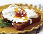 olive oil fried eggs with mozzarella and harissa picture