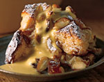 sticky date and almond bread pudding with amaretto zabaglione picture