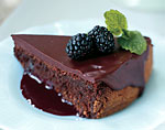 dark chocolate torte with spiked blackberry coulis picture