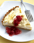 lemon cloud tart with rhubarb compote picture