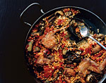 paella with rabbit and artichokes picture