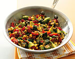 fresh corn saute with tomatoes, squash, and fried okra picture