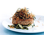 sesame tuna burgers with fried shoestring zucchini picture