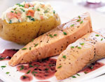 salmon with beurre rouge and smoked-salmon-stuffed baked potato picture