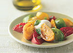 heirloom tomato and burrata cheese salad picture