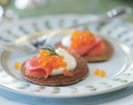 buckwheat blinis with smoked salmon and creme fraiche picture