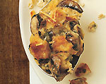 savory bread pudding with mushrooms and parmesan cheese picture