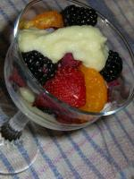 Fresh fruit with vanilla custard sauce picture