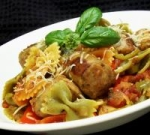 Italian Turkey Sausage and Peppers with Bowtie Pasta picture